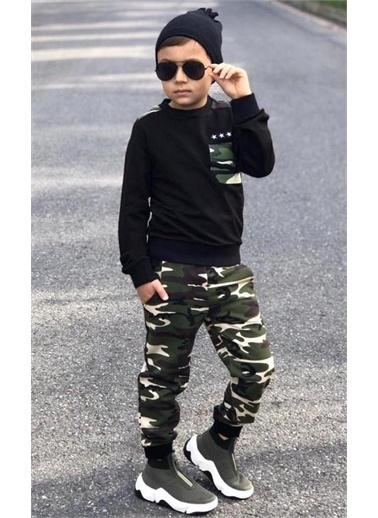 Riccotarz Erkek Çocuk Yıldız Cepli Kamuflaj Siyah Eşofman Takım Renkli